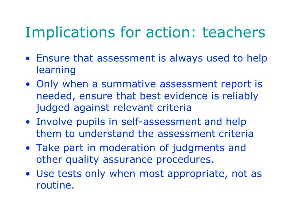 Implications for action: teachers