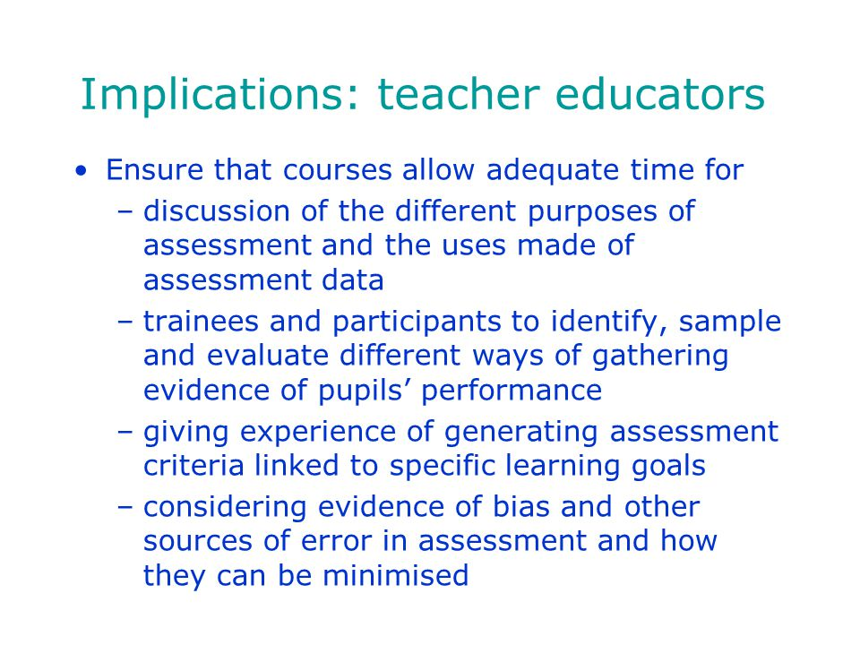 Implications: teacher educators