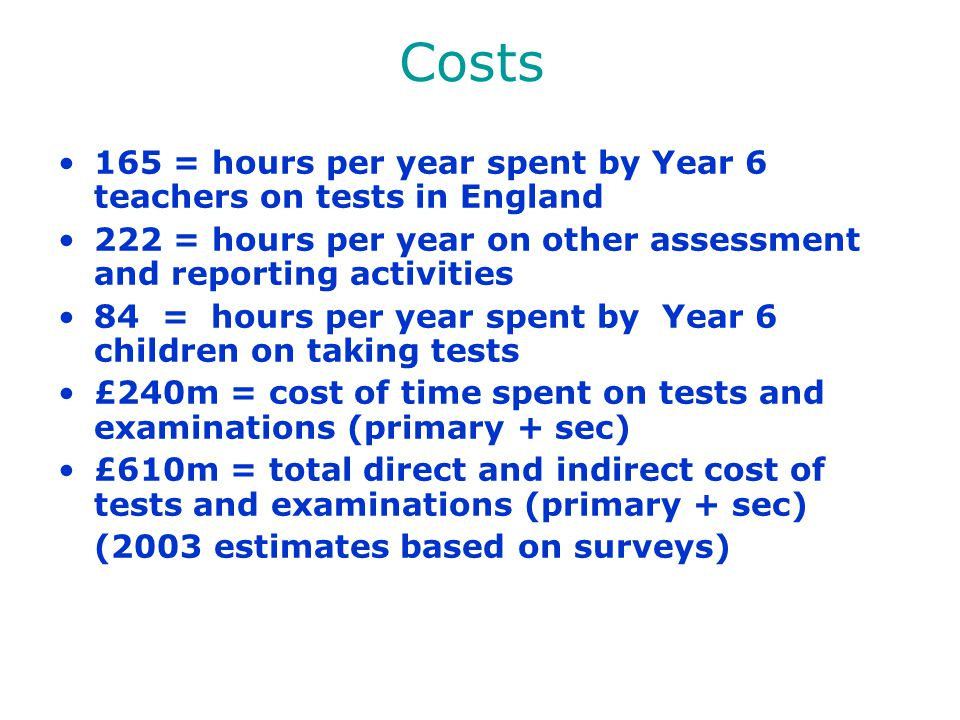 Costs 165 = hours per year spent by Year 6 teachers on tests in England. 222 = hours per year on other assessment and reporting activities.