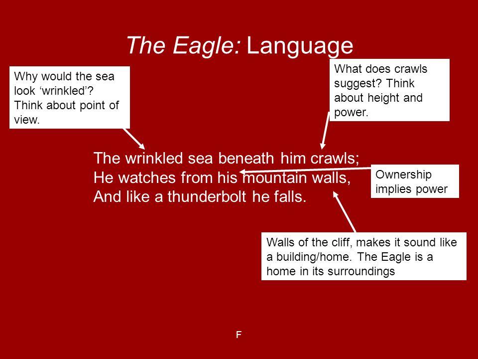 The Eagle: Language The wrinkled sea beneath him crawls;