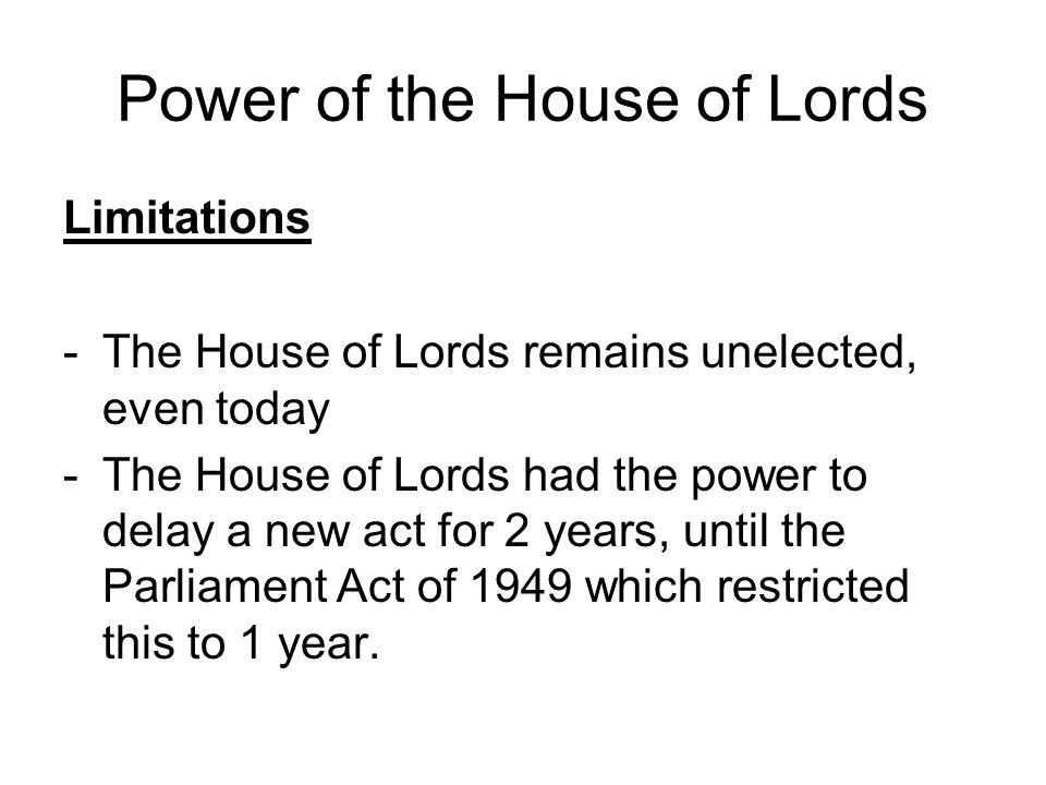 Power of the House of Lords