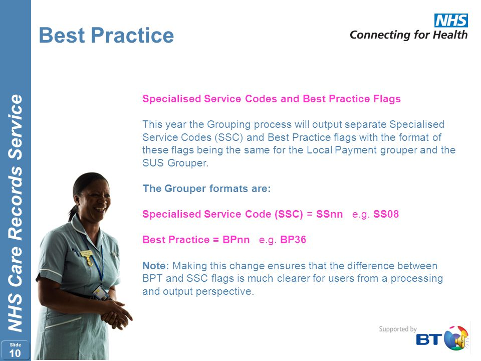 Best Practice Specialised Service Codes and Best Practice Flags