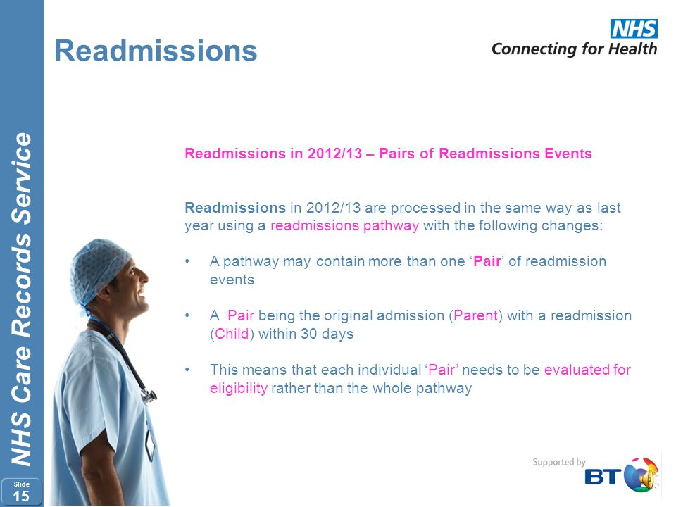 Readmissions Readmissions in 2012/13 – Pairs of Readmissions Events