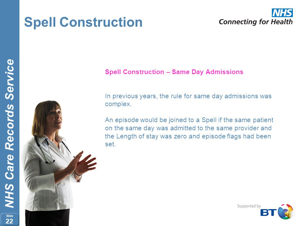 Spell Construction Spell Construction – Same Day Admissions