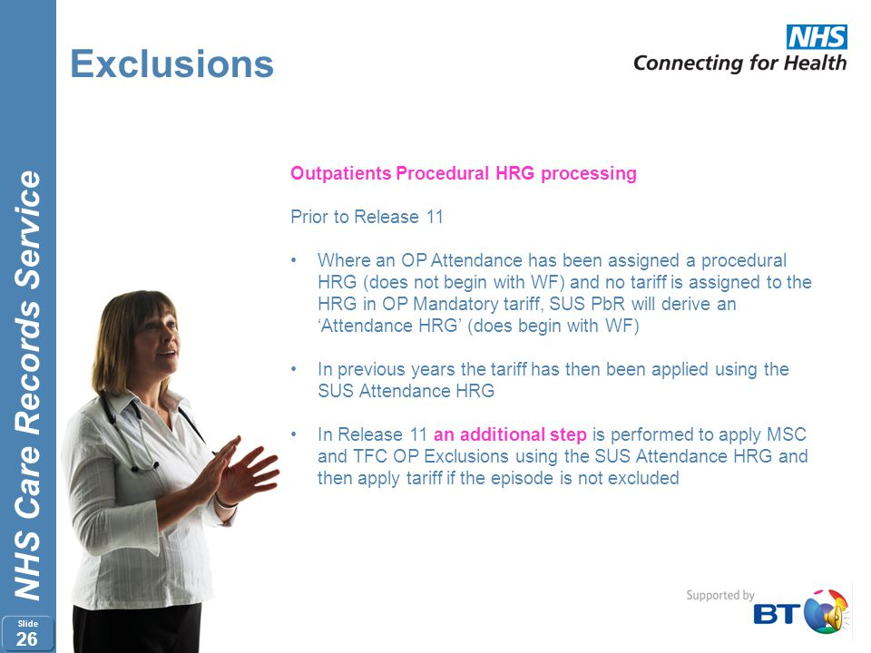 Exclusions Outpatients Procedural HRG processing Prior to Release 11