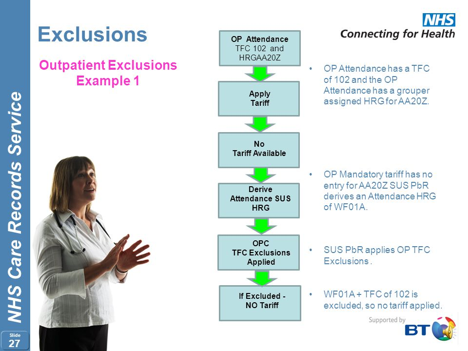 Outpatient Exclusions Example 1 Derive Attendance SUS HRG