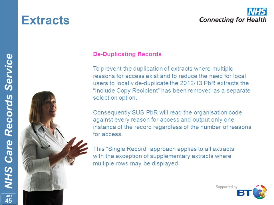 Extracts De-Duplicating Records