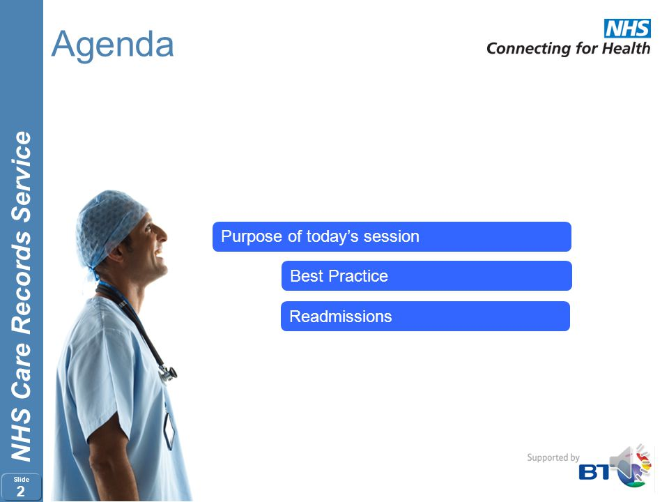 Agenda Purpose of today's session Best Practice Readmissions