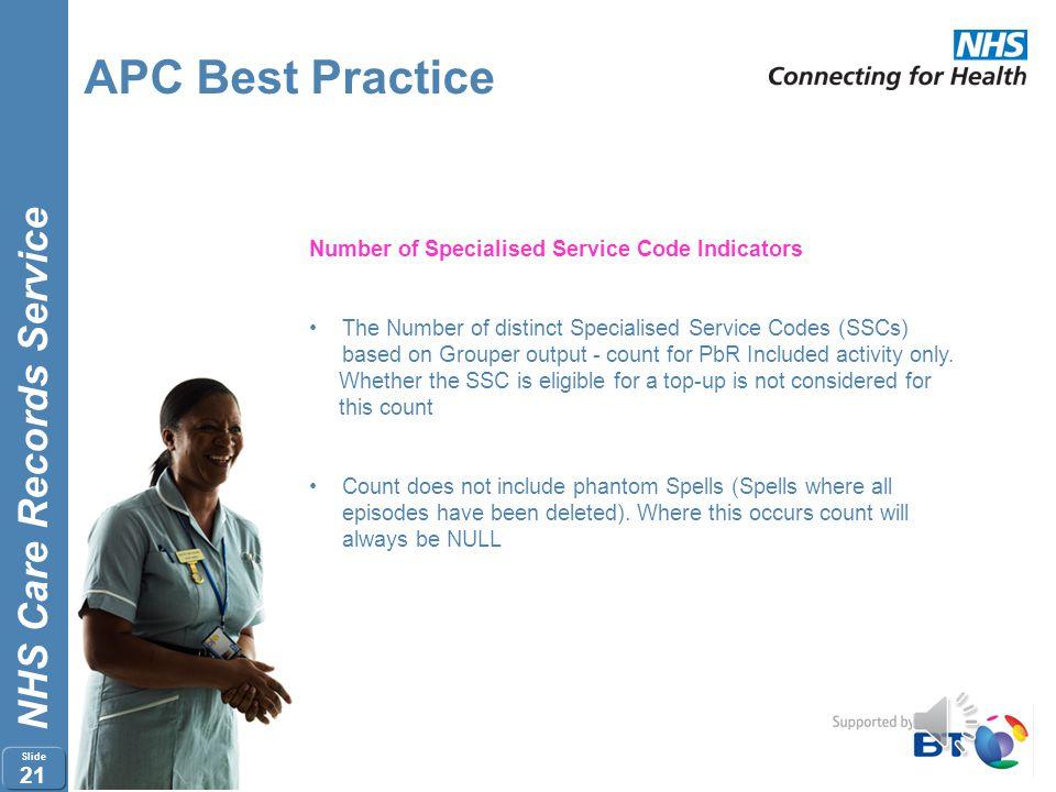 APC Best Practice Number of Specialised Service Code Indicators