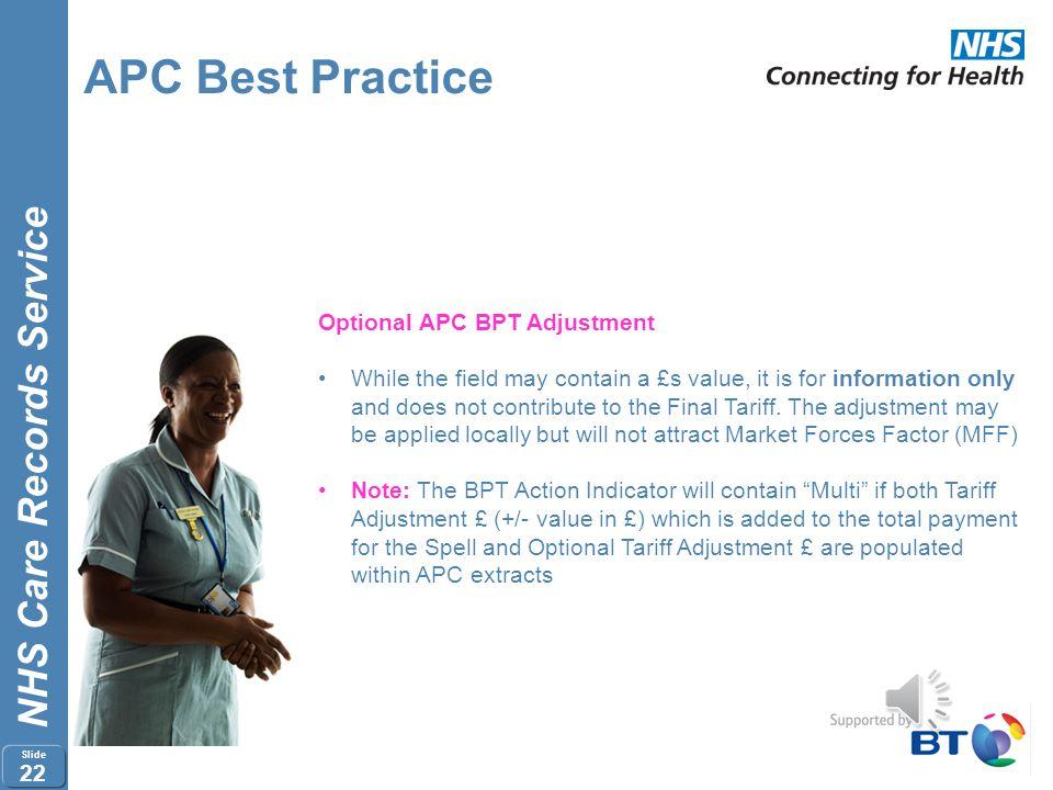 APC Best Practice Optional APC BPT Adjustment