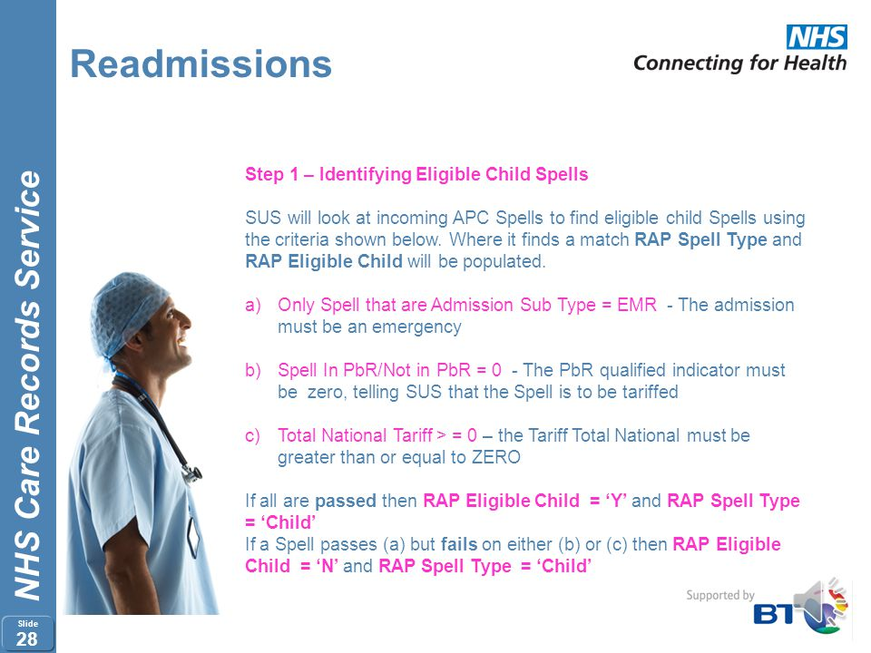 Readmissions Step 1 – Identifying Eligible Child Spells