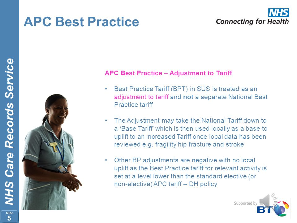 APC Best Practice APC Best Practice – Adjustment to Tariff