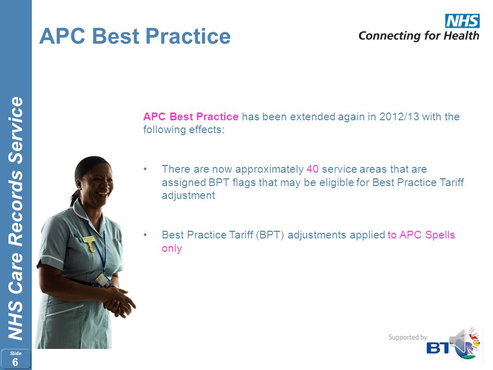APC Best Practice APC Best Practice has been extended again in 2012/13 with the. following effects: