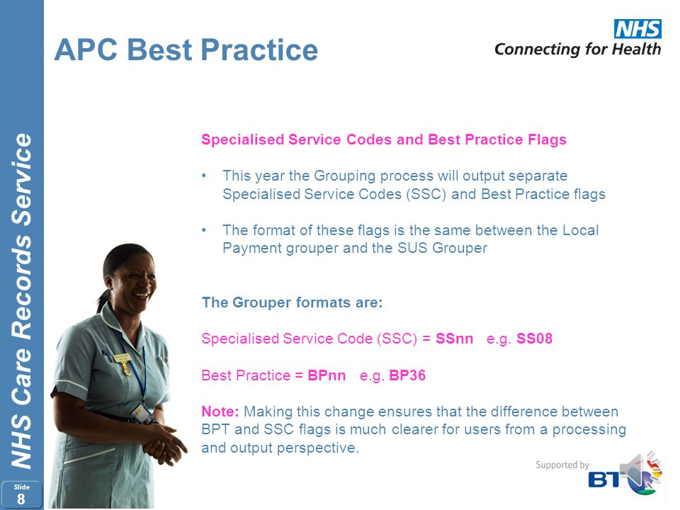 APC Best Practice Specialised Service Codes and Best Practice Flags