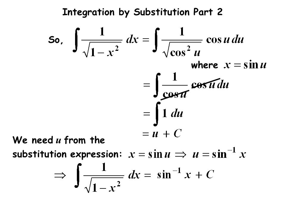 So, We need u from the substitution expression: where