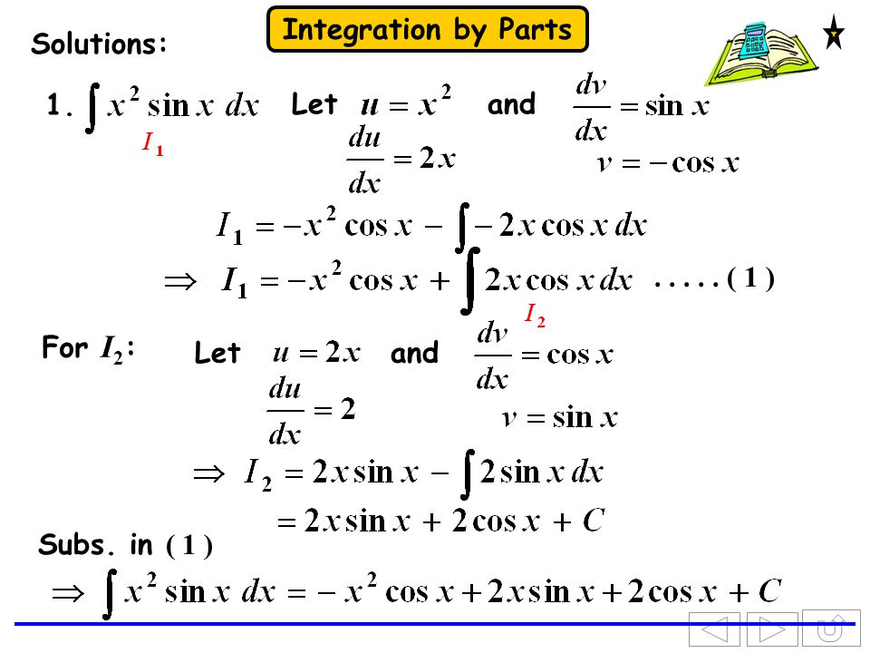 Solutions: and Let 1. . . . . . ( 1 ) and Let For I2: Subs. in ( 1 )