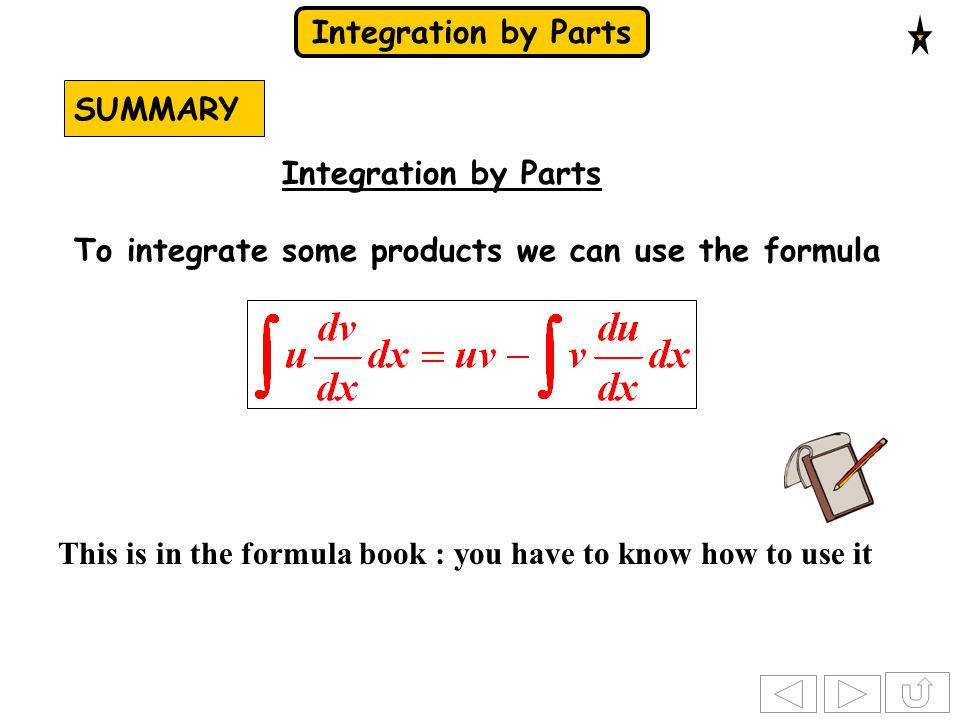 SUMMARY Integration by Parts. To integrate some products we can use the formula.