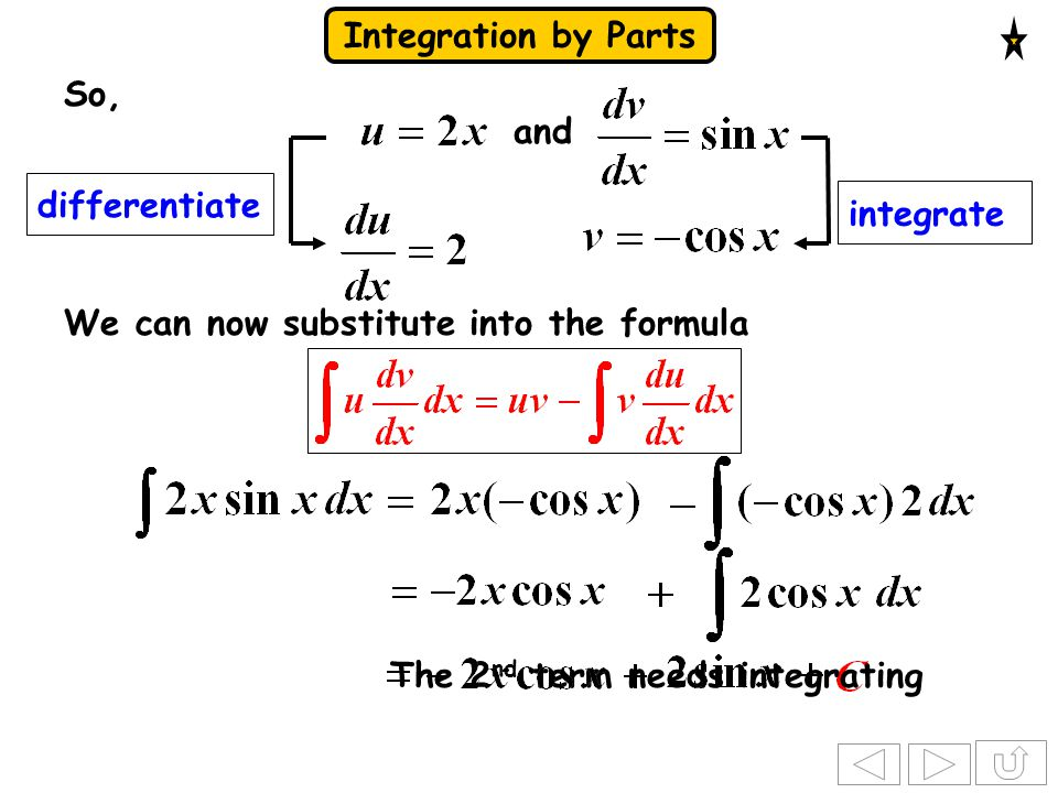 So, and. differentiate. integrate. We can now substitute into the formula.