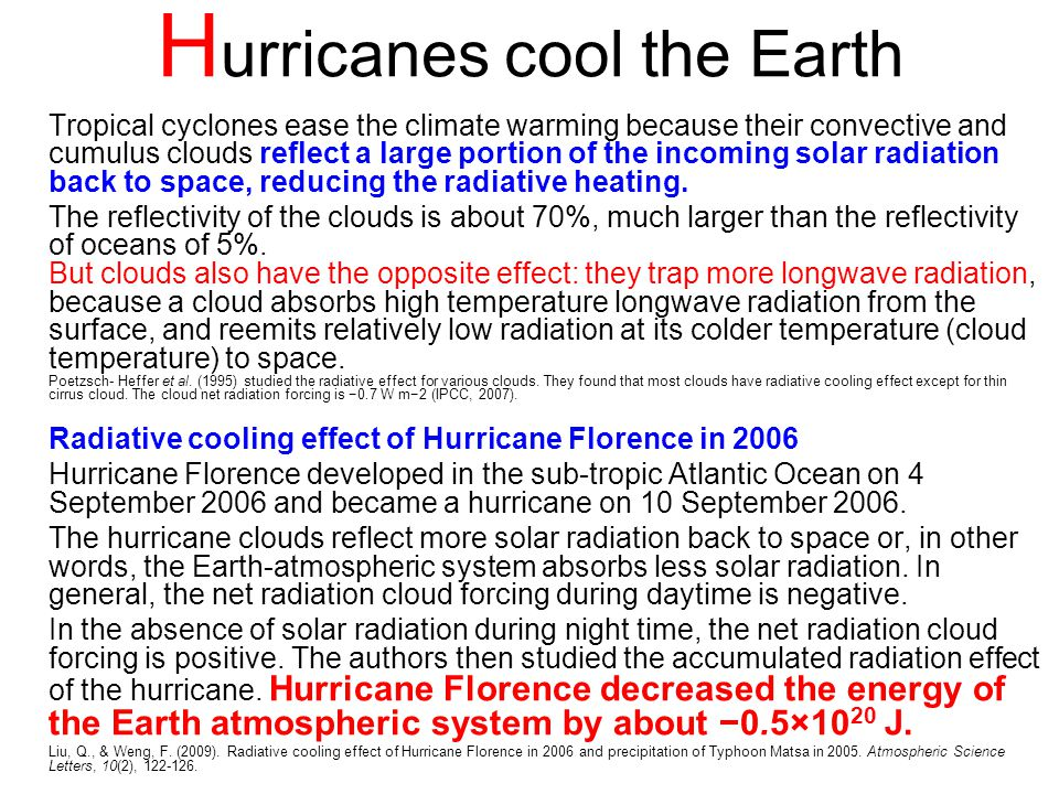 Hurricanes cool the Earth