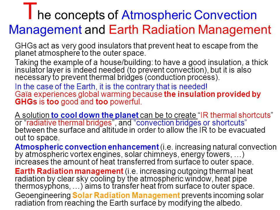 The concepts of Atmospheric Convection Management and Earth Radiation Management