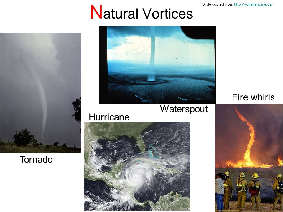 Natural Vortices Fire whirls Waterspout Hurricane Tornado