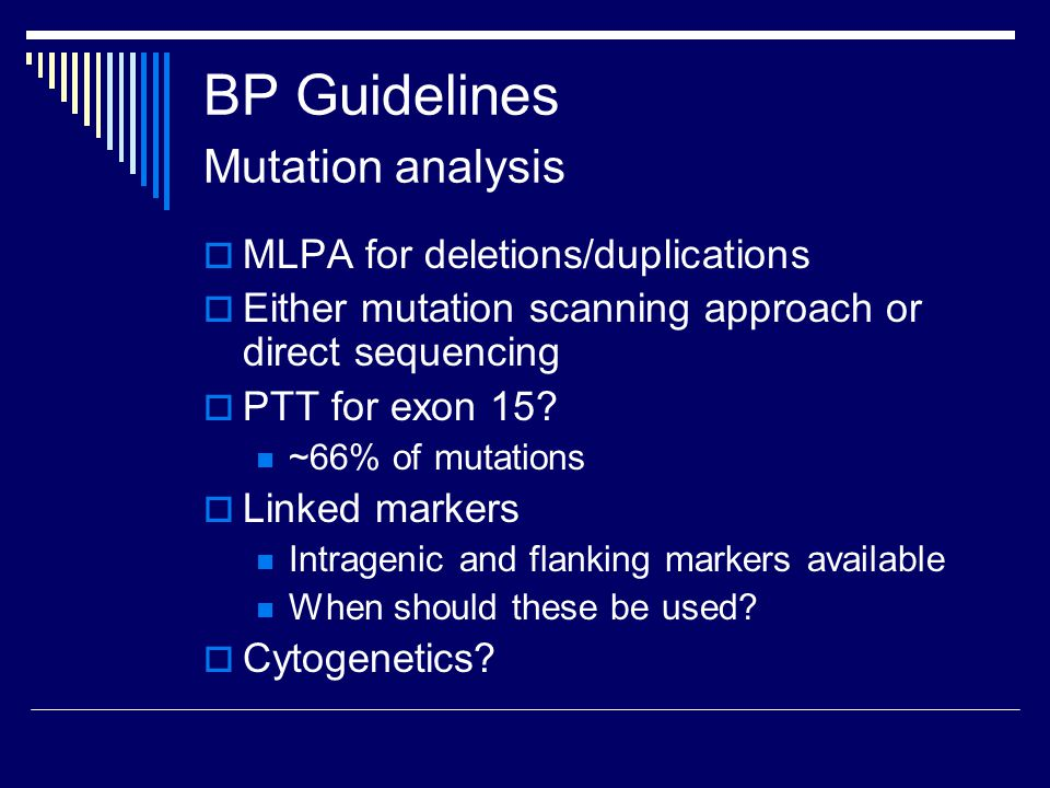 BP Guidelines Mutation analysis