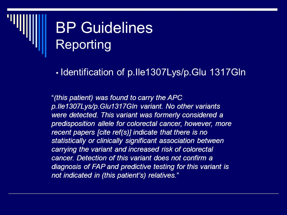 BP Guidelines Reporting