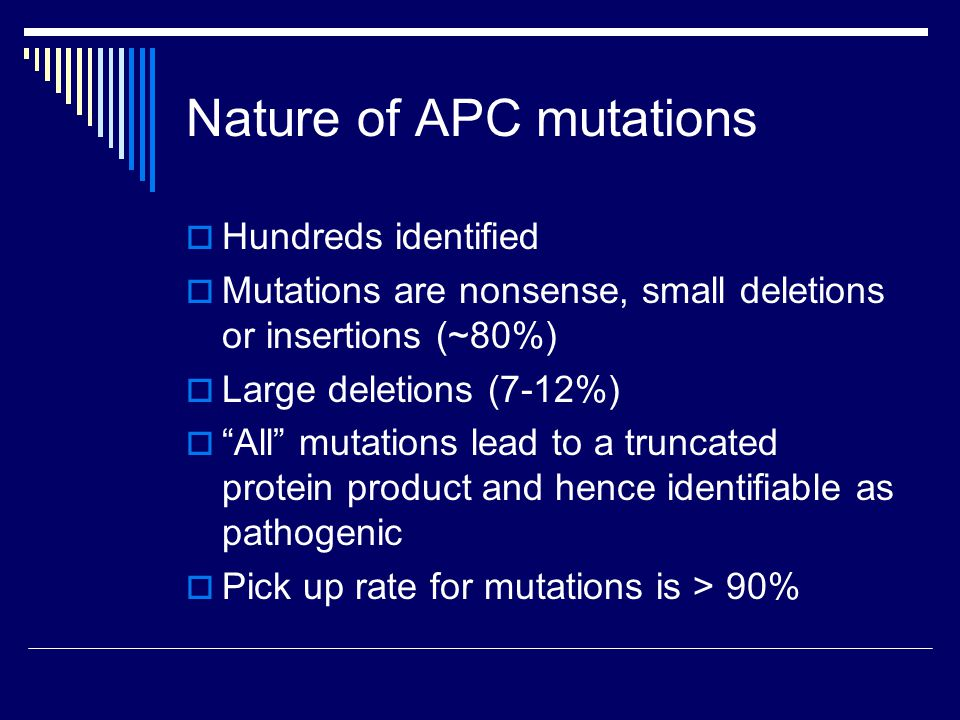 Nature of APC mutations