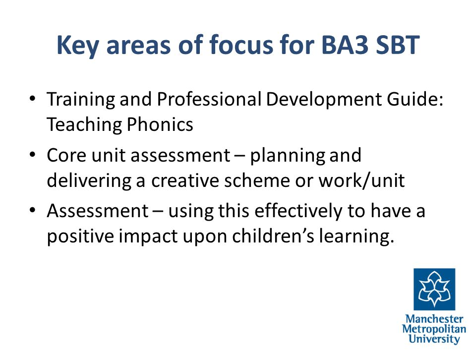 Key areas of focus for BA3 SBT