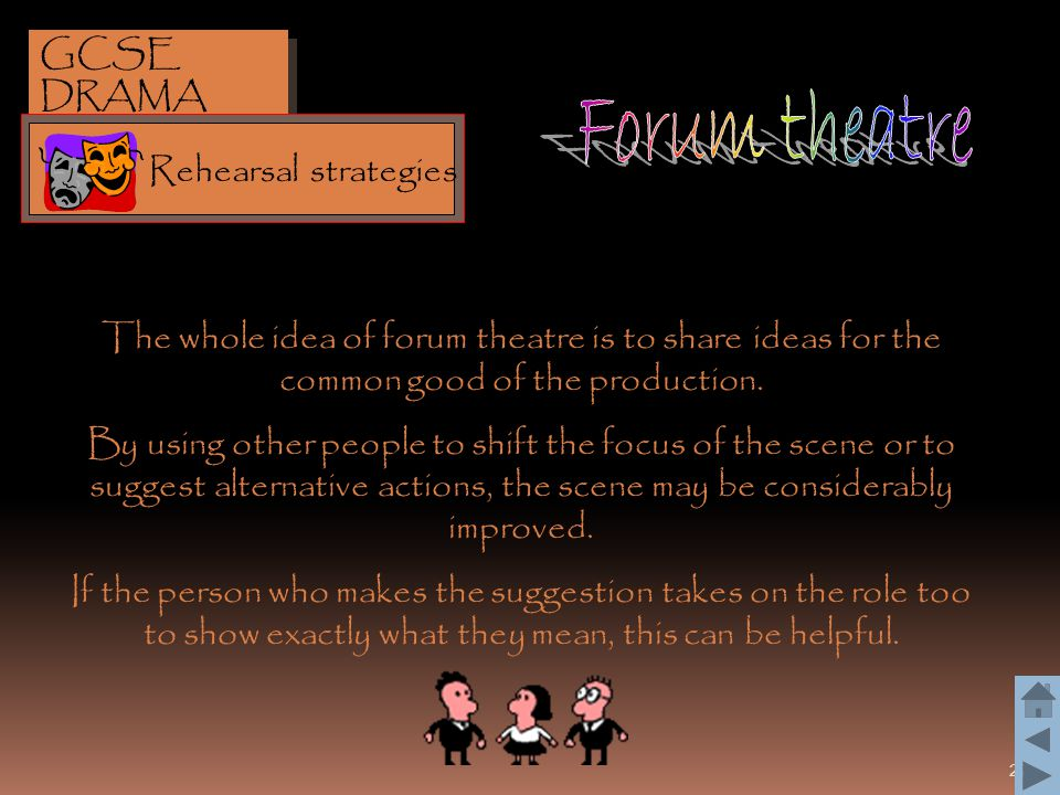 Forum theatre GCSE DRAMA Rehearsal strategies