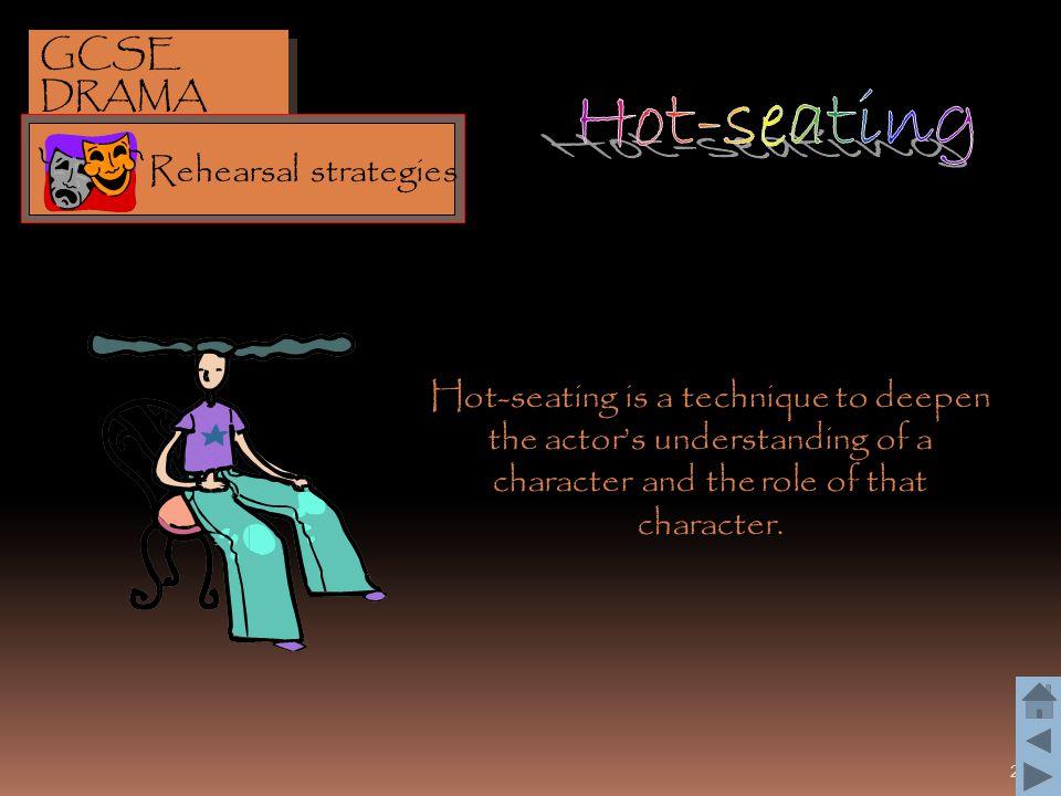 Hot-seating GCSE DRAMA Rehearsal strategies