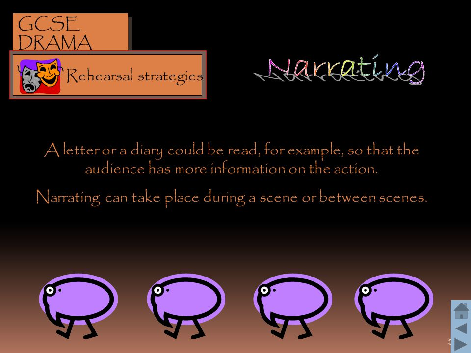 Narrating can take place during a scene or between scenes.