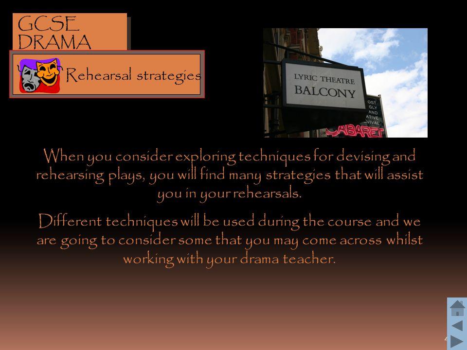 GCSE DRAMA Rehearsal strategies.
