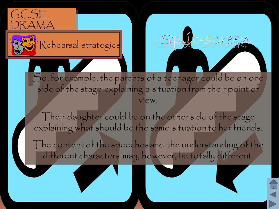 Split-screen GCSE DRAMA Rehearsal strategies