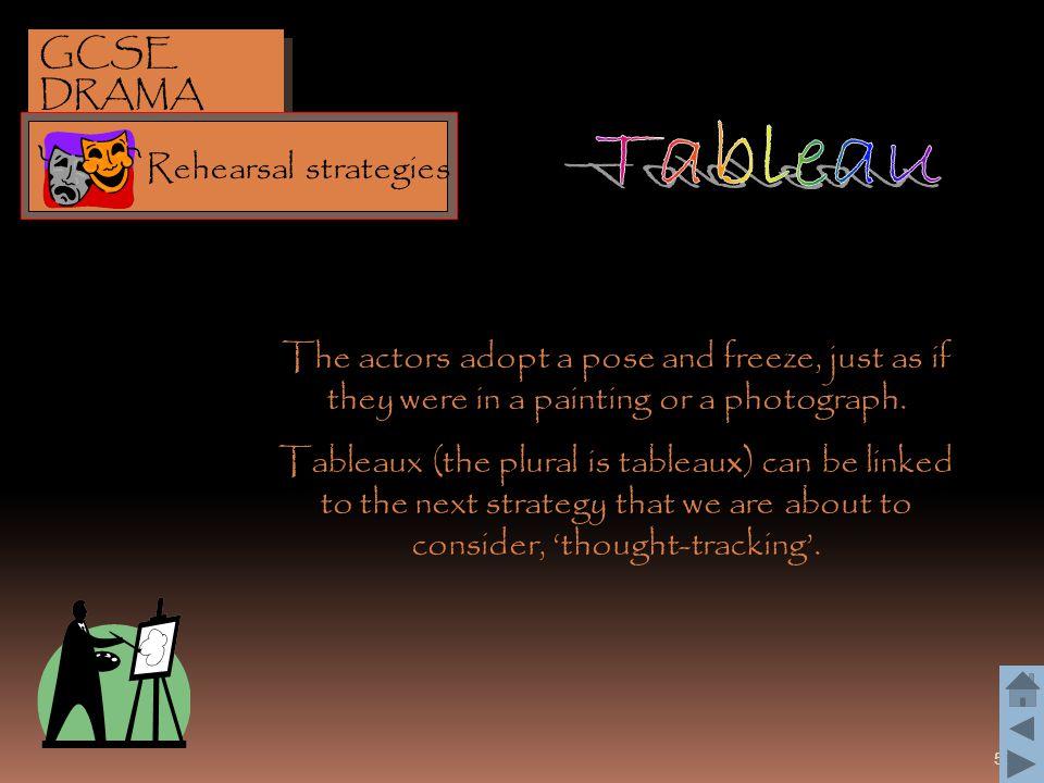 Tableau GCSE DRAMA Rehearsal strategies
