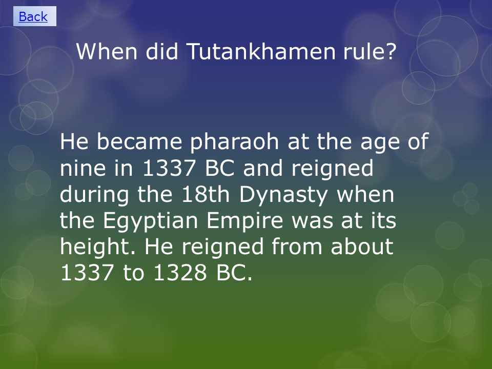 When did Tutankhamen rule