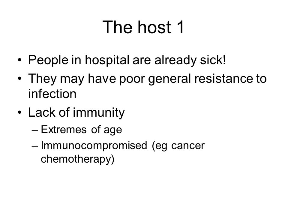 The host 1 People in hospital are already sick!