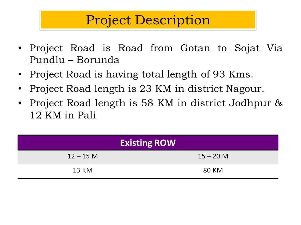 Project Description Project Road is Road from Gotan to Sojat Via Pundlu – Borunda. Project Road is having total length of 93 Kms.