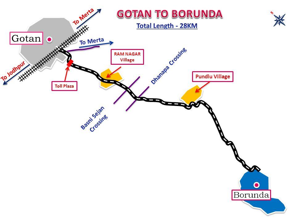 GOTAN TO BORUNDA Gotan Borunda Total Length - 28KM To Merta To Merta