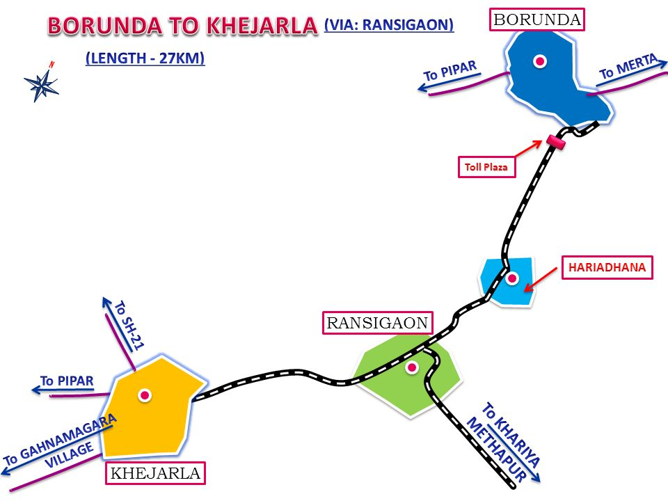 BORUNDA TO KHEJARLA BORUNDA (VIA: RANSIGAON) (LENGTH - 27KM) RANSIGAON