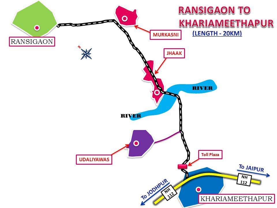 RANSIGAON TO KHARIAMEETHAPUR (LENGTH - 20KM) RANSIGAON KHARIAMEETHAPUR