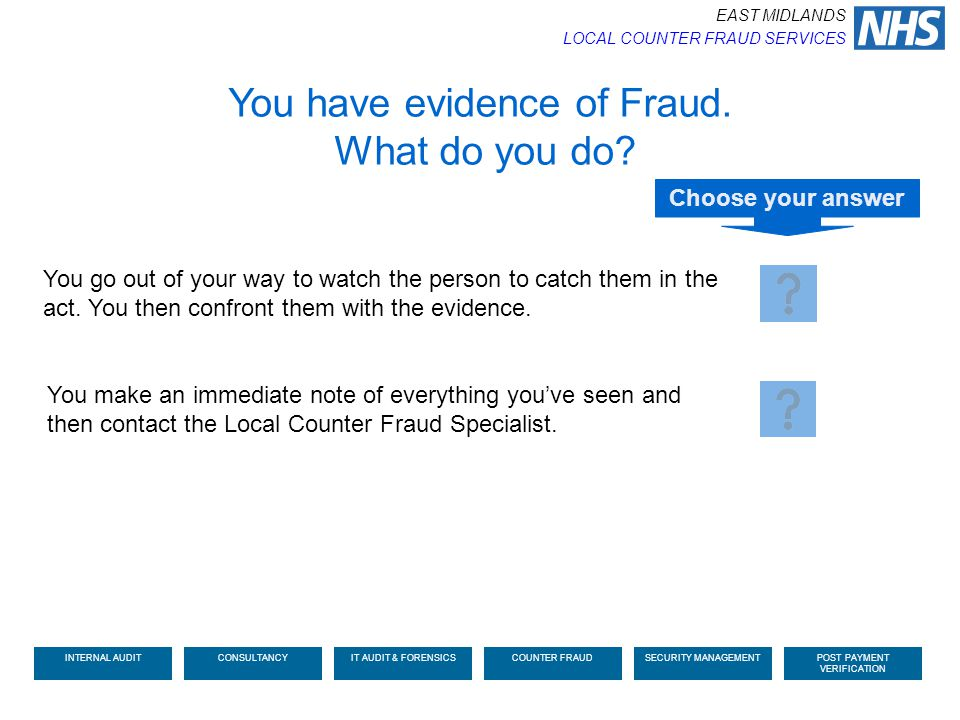 You have evidence of Fraud. What do you do