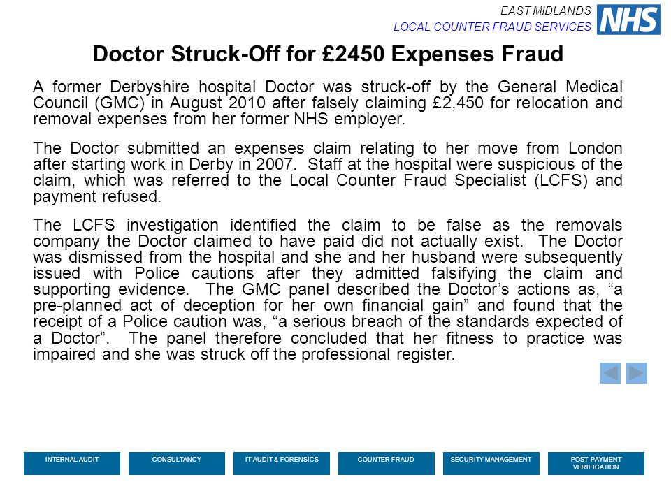 Doctor Struck-Off for £2450 Expenses Fraud