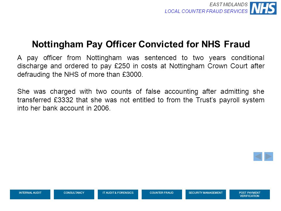 Nottingham Pay Officer Convicted for NHS Fraud
