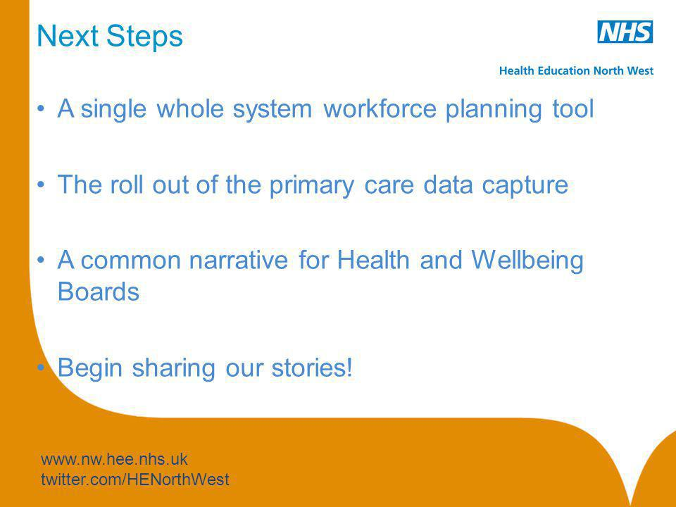 Next Steps A single whole system workforce planning tool