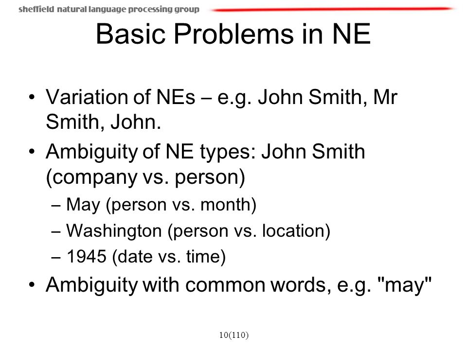 Basic Problems in NE Variation of NEs – e.g. John Smith, Mr Smith, John. Ambiguity of NE types: John Smith (company vs. person)