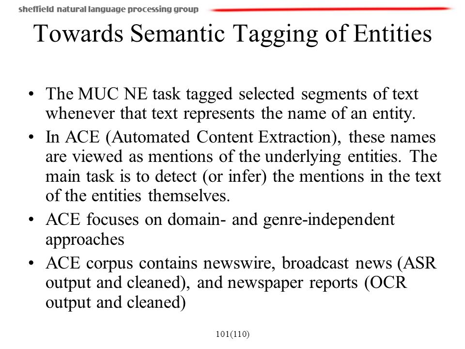 Towards Semantic Tagging of Entities