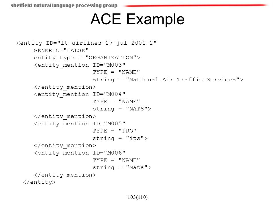 ACE Example GENERIC= FALSE entity_type = ORGANIZATION >