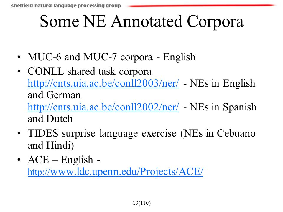 Some NE Annotated Corpora