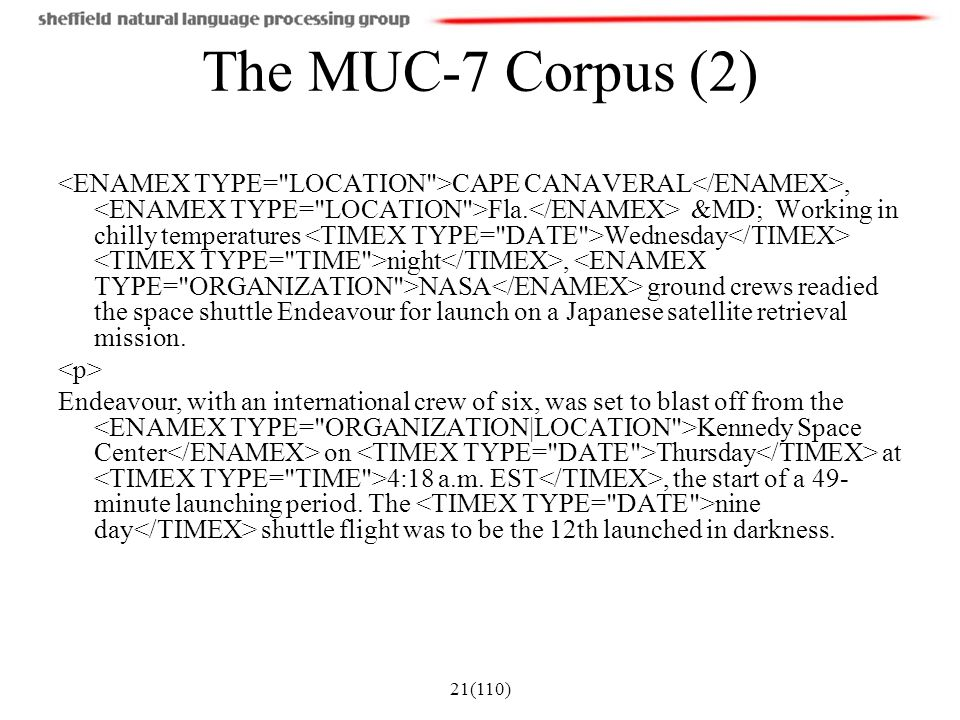 The MUC-7 Corpus (2)